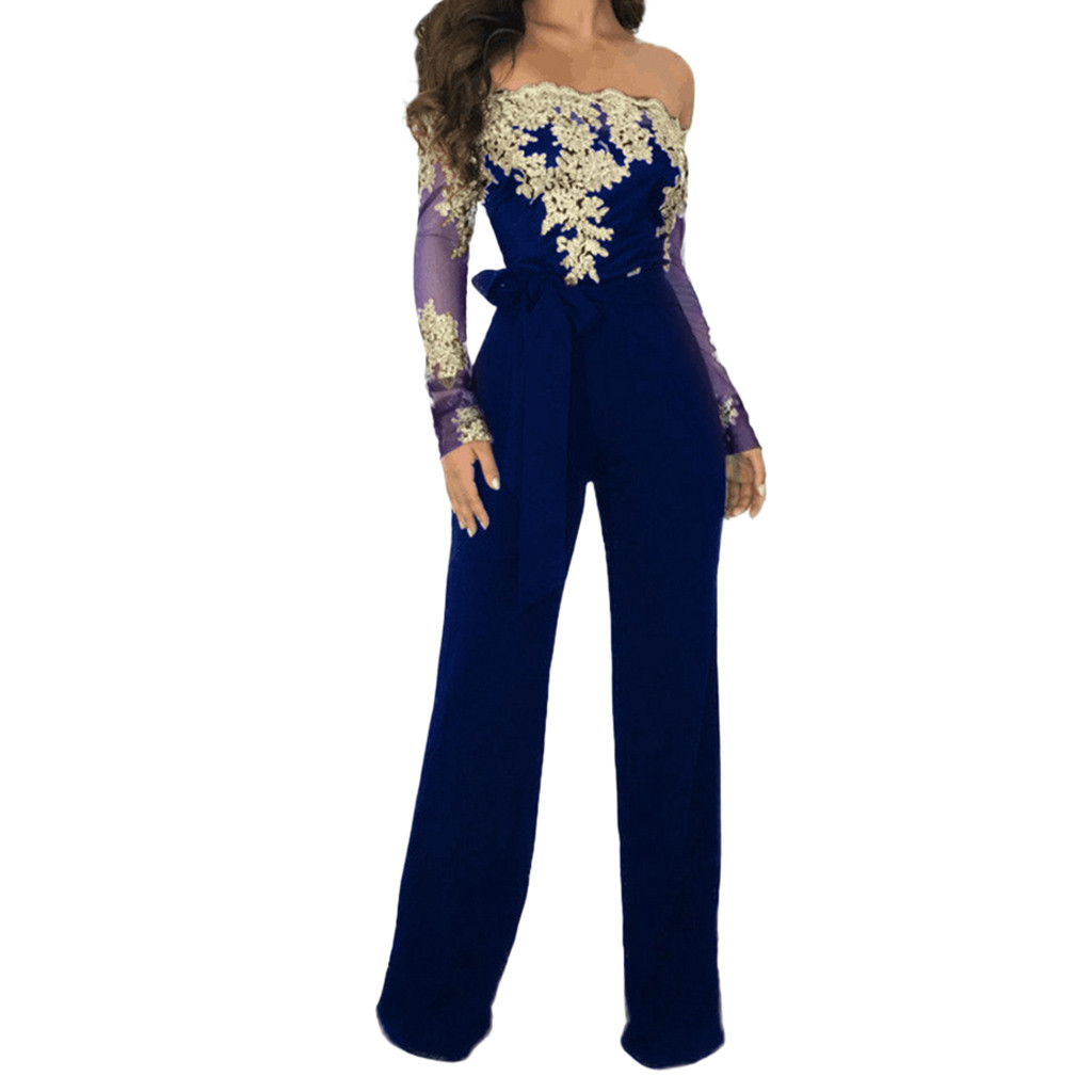 Polyester Lace Wine Red For Women Ladies Casual Lace Off Shoulder Lace Up Jumpsuit Playsuit Wide Leg Romper #G25