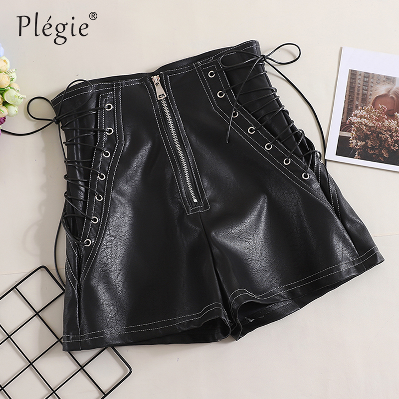 Plegie Side Lace Up Pu Leather Shorts Women 2018 Autumn High Waist Front Zipper Wide Leg Shorts Leather Short Pants For Ladies