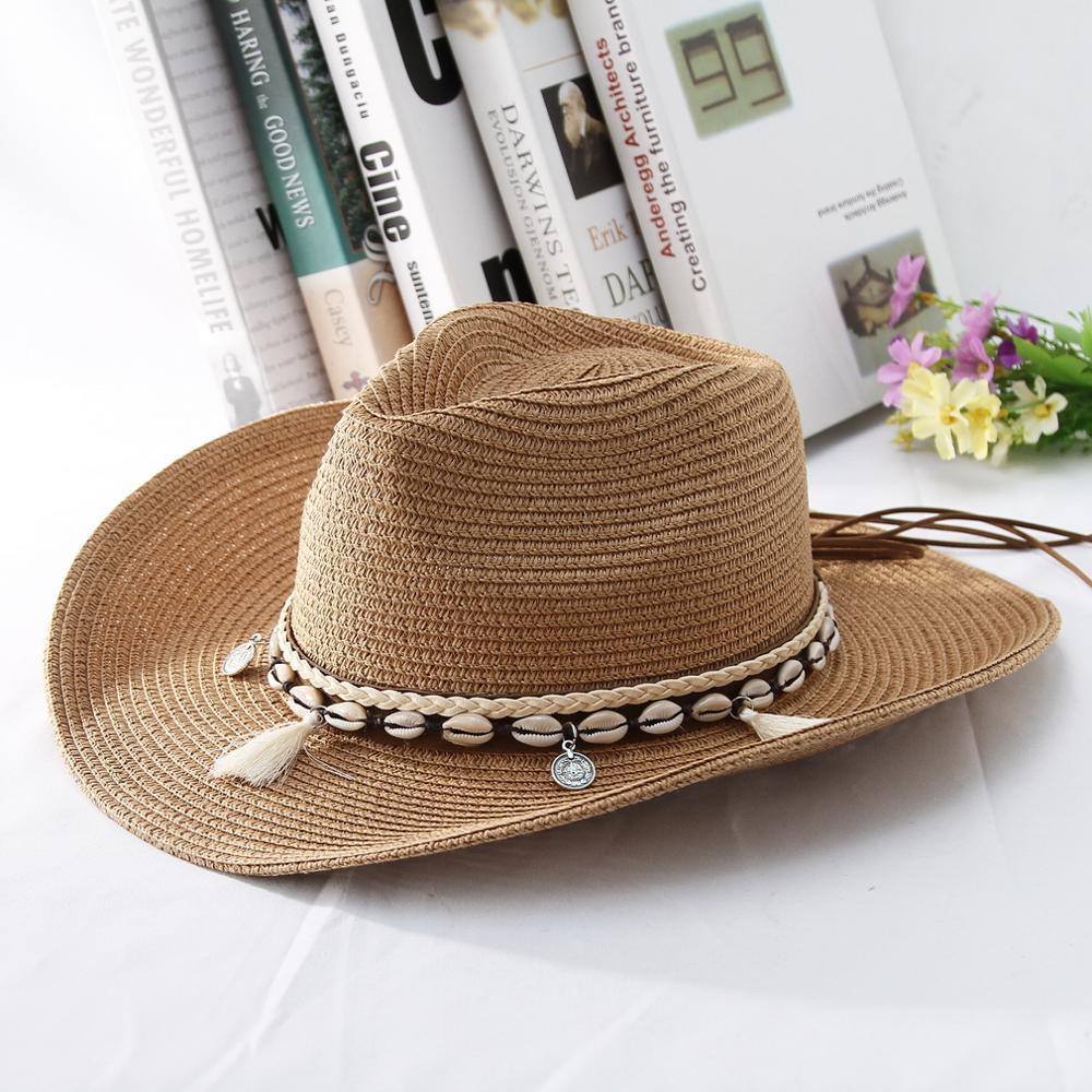 GEMVIE 2019 Shell Tassels Cowgirl Summer Hat Straw for Women Men Western Cowboy Lady Trendy Woven Sun Beach Cap