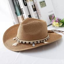 GEMVIE 2019 Shell Tassels Cowgirl Summer Hat Straw Hat for Women Men Western Cowboy Hat Lady Trendy Woven Sun Hat Beach Cap