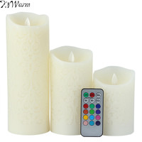 KiWarm Dancing Flame LED Candles With Remote Control Wax Pillar Candle Room Night Light For Wedding