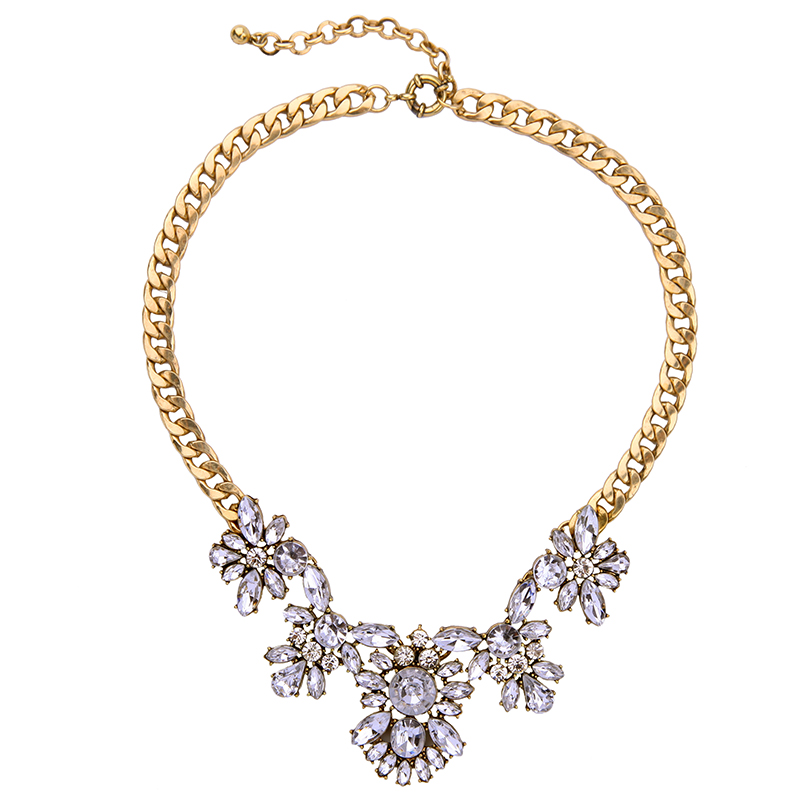 N00656 Wholesale Hot Sale Statement Rhinestone Necklace, Vintage Gold Necklace, Fashion Korean Couple Necklace