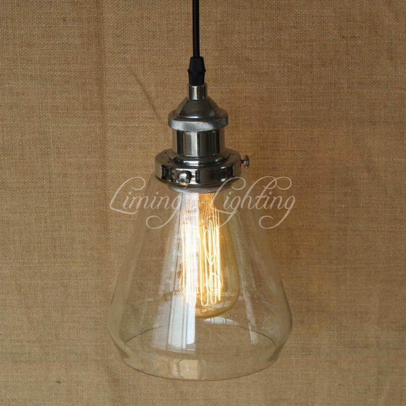 LOFT Industrial Hanging Clear Glass Shade Pendant Lamp With Edison Light Bulb Kitchen Lights Cabinet Lights edison ceiling pendant clear glass crystal industrial edison light lamp loft hotel hallway store club cafe beside