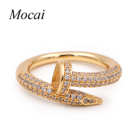 Luxury Shining Cubic Zircon Fashion Nail Rings Brand Design Vintage Women Finger Engagement Ring Jewelry Lord