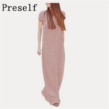 Preself Dresses Women Maxi Floor Long Wrap Dress Ladies Fashion Short Long Sleeve Loose Casual Beach Girl Gray Pink Colors