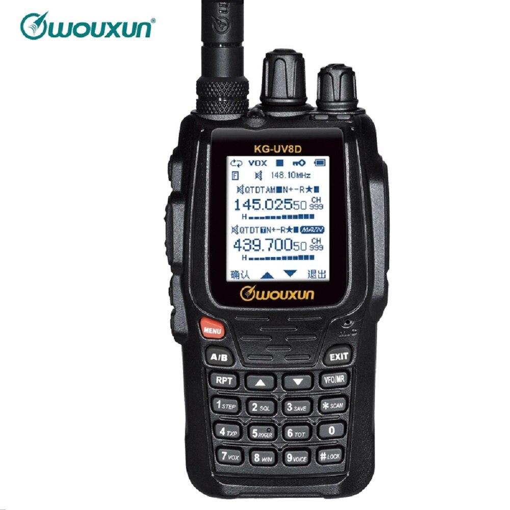 WOUXUN KG 8D plus двухстороннее радио цифровой двухдиапазонный приемопередатчик 999 каналов памяти UHF/VHF Ham рация цветной экран радио