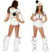 Sexy White Short Sleeve Hooded Cute Snowman Christmas Costume high quality Jumpsuits Xmas For Women Adult Christmas Fancy Dress