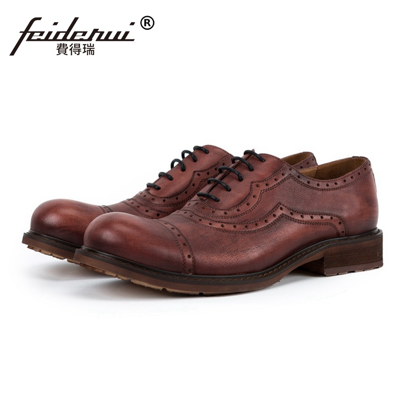 все цены на New Vintage Round Toe Man Formal Dress Semi Brogue Oxfords British Designer Genuine Leather Men's Handmade Outdoor Shoes SS179 онлайн