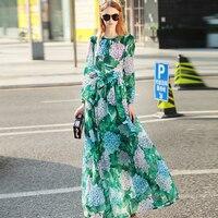 Casual Elegant Dresses 2017 Summer Sashes Bow Floral Printed Full Lantern Sleeve Beautiful Green Floor Length