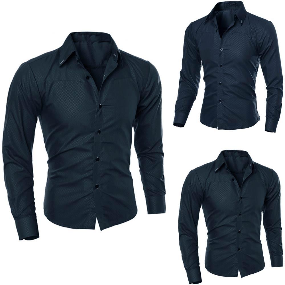 Muqgew Man Long Sleeve Shirts Silk Satin Chemise  Casual Fit Fashion Printed Blouse Casual Long Sleeve Slim Shirts Tops #4