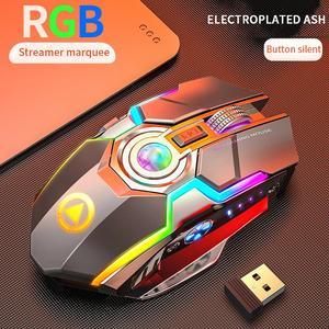 Image 3 - Беспроводная игровая мышь перезаряжаемая игровая мышь Бесшумная эргономичная 7 клавиш RGB с подсветкой 1600 dpi мышь для ноутбука Pro Gamer мышь игровая мышь мышка мышь беспроводная беспроводная мышь мышь игровая компь