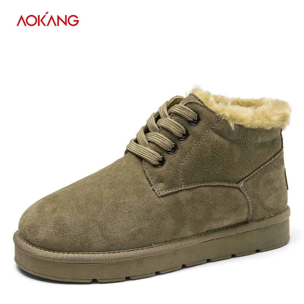 AOKANG 2018 Winter Snow Boots Men Genuine Leather Men Fashion Shoes Men Short Plush Lace Up Ankle Boots Casual Solid Men Shoes muhuisen brand winter men genuine leather shoes fashion warm working plush ankle boots casual lace up flats male snow boots