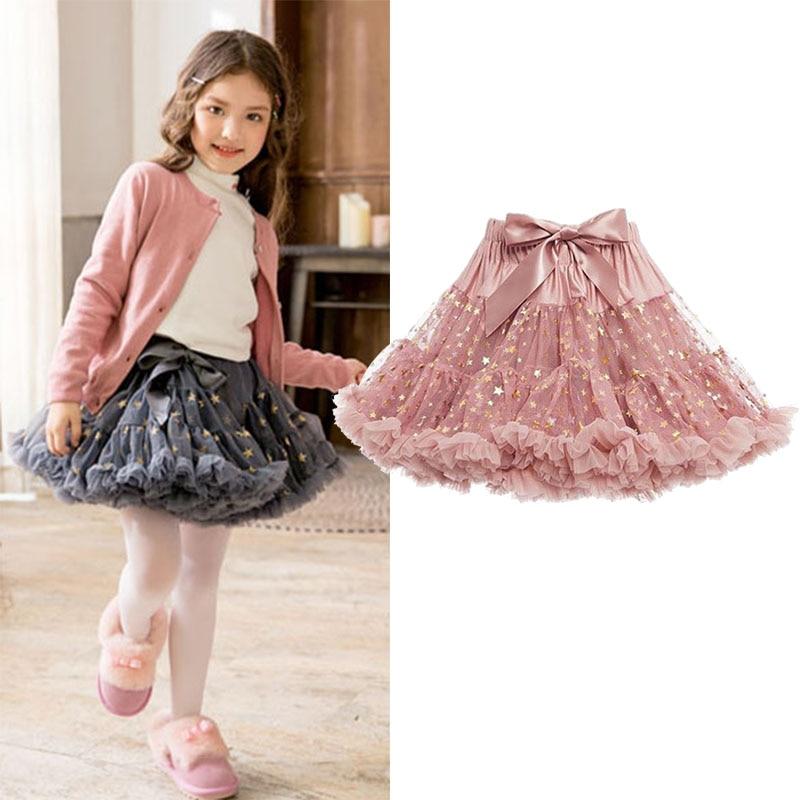 Filles tutu jupe enfants robe de bal jupe enfant en bas bébé danse jupe enfants princesse jupe or étoile estampage dentelle 1 à 7 ans