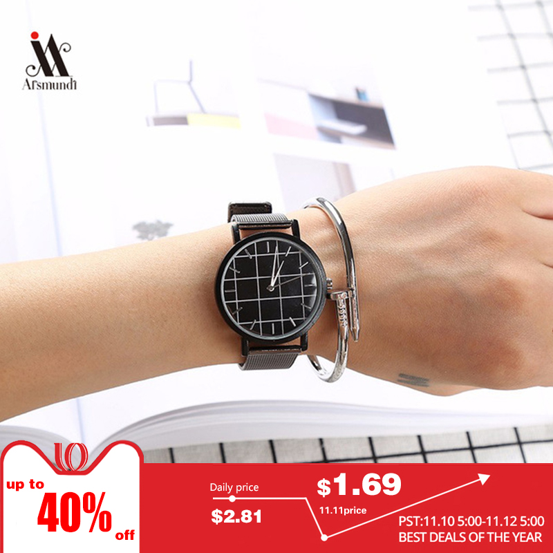 Couple Plaid Watch Fashion Mens Clothing Female Students Simple Design Quartz Watch Suitable For Men And Women hansying nostalgia newspaper and coffee creative design boy girls kids waterproof quartz watch suitable women men watch
