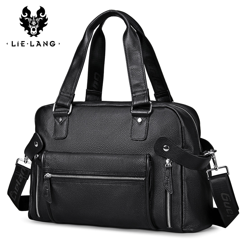100% Genuine Leather Men Handbag Large Capacity Men's Travel Bags Fashion Male Shouder Messenger Bag Men Laptop Bag Casual Tote large capacity travel bags men vintage fashion laptop bag genuine cow leather men s handbag cross body bags messenger bag