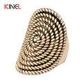 2016 Metal Puro Rock Encantos Mulheres Anéis Espiral Oval Totem Do Vintage Chapeamento de Ouro Jóias ZK J0181 Melhor Presente Do Partido