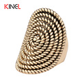 2016 Pure Metal Rock  Charms Women Rings Vintage Gold Plating  Oval Spiral Totem Jewelry ZK J0181 Party Best Gift