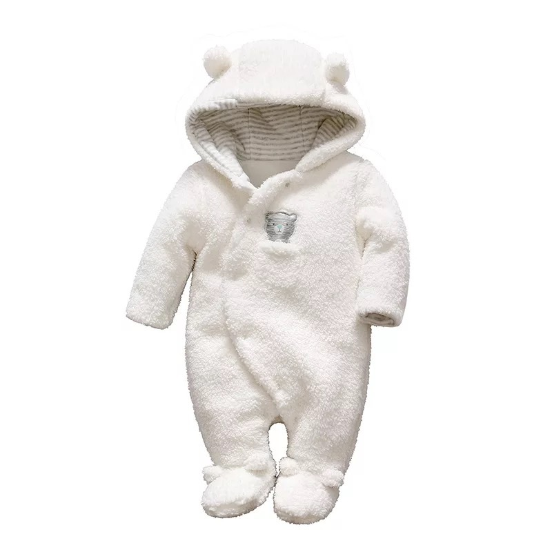 2018 Baby girl boy rompers Newborn baby clothes Bear pattern hooded plush jumpsuit winter Warmth overalls for kids high quality