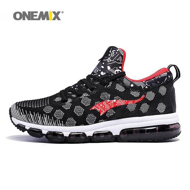 ONEMIX Newest Outdoor Running Shoes Men's Sneakers Elastic Women Jogging Shoes Black Traniers Sport Shoes