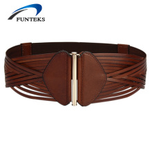 FUNTEKS 2017 High Quality Weave Women Belt Female First Layer Genuine Leather Belts for Women Strap Vintage Wide Belts for Dress