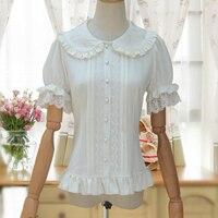 Sweet White Lolita Blouse Short Puff Sleeve Top Flower Embroidered Peter Pan Collar Ruffle Shirt Ladies 2019 Summer Woman Shirt