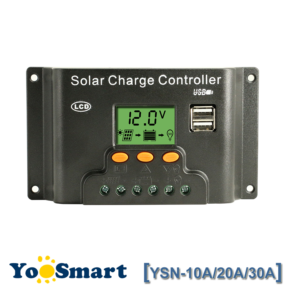 Backlight LCD Solar Charge Controller PWM 30A 20A 10A 12V/24V Auto with Dual USB 5V Output Adjustable Solar Regulator YSN Series maylar 30a pwm solar charge controller 12v battery regulator with 5v usb output lcd display