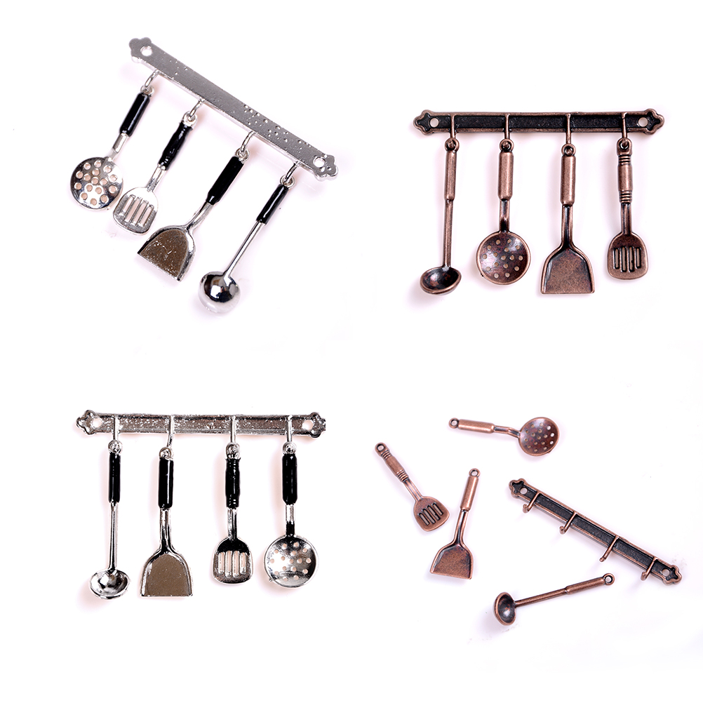 5pc/set 1:12 Doll House Miniature Metal Kitchenware Bronze Dollhouse Model Cook Set Classic Kitchen Supplies Parts Toys Hobbies