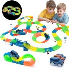 Spoorweg Magische Gloeiende Flexibele Track Car Toys Kinderen Racing Bocht Spoor Led Elektronische Flash Light Auto Diy Speelgoed Kids gift