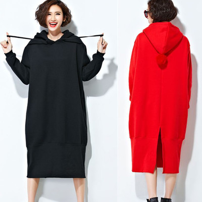 autumn and winter Loose Plus thick Large size Leisure Sweater Dress black red color Hooded sweet cute woman dress