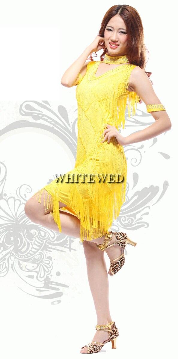 Red Pink Yellow Fringe Roaring 20s 1920 Era Latin Salsa Flapper