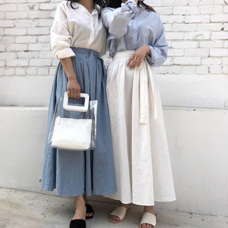 Falda tutú larga de lino y algodón de verano para Mujer, falda a la Moda para Mujer, falda de cintura alta Etek 2018