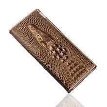 2017 Tête de Crocodile Véritable Cuir Femmes Portefeuille Femelle Détenteurs De Mode Femmes Porte-Monnaie 3D Dames Crocodile Embrayage Portefeuilles