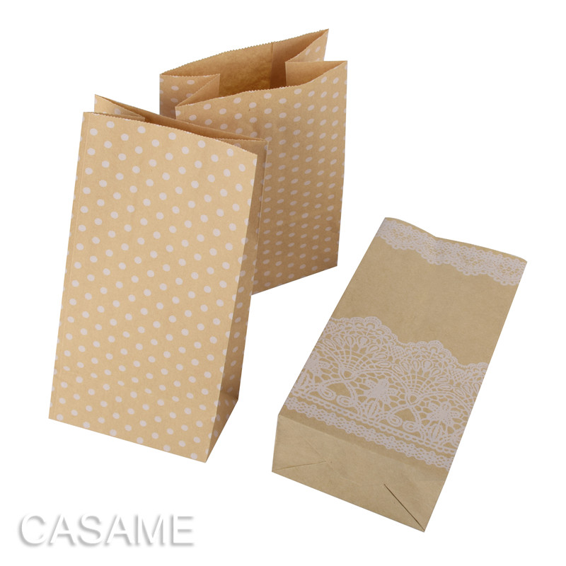 8pcs Wholesale Polka Dot Paper Bag Stand Up Colorful Candy Bags 18x9x6cm Favor Open Top Gift Packing Paper Treat Gift Bag