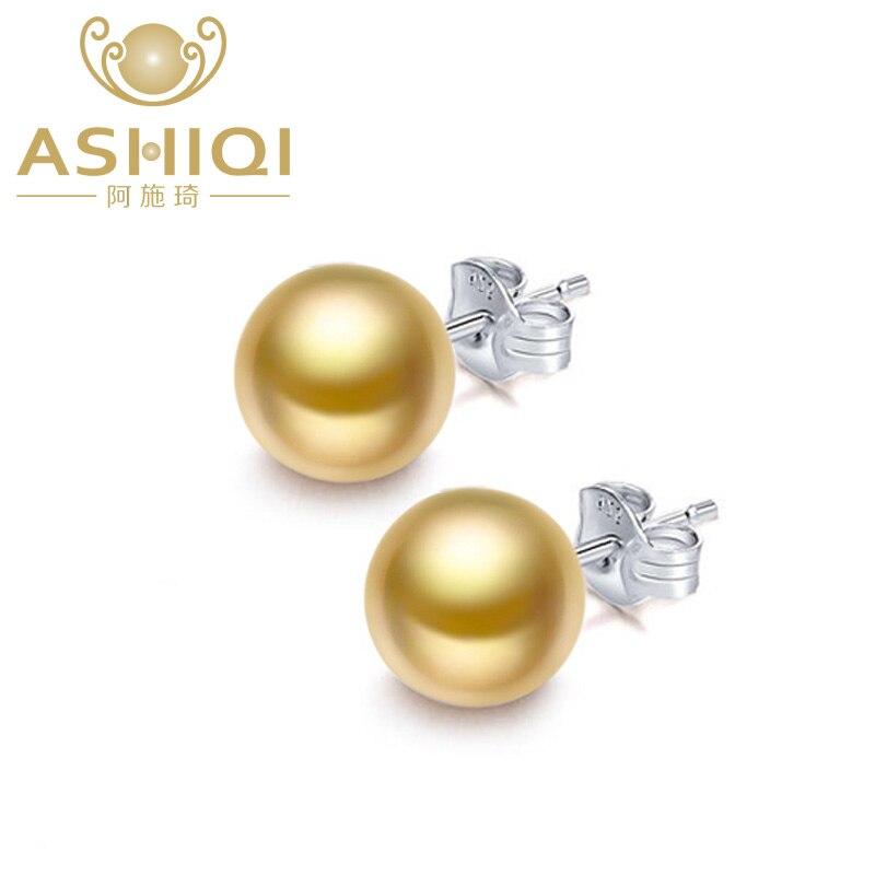 ASHIQI Gold Natural Freshwater Pearl stud Earring