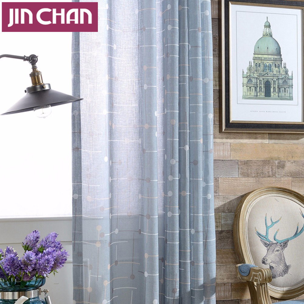 Blue curtains for living room - Dusty Blue Points And Lines Polyester Window Voile Tulle Sheer Curtains For Living Room Bedroom Grommet