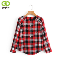 GOPLUS New Fashion Red Black Plaid Shirts Women Pearl Decor Blouses Long Sleeves O Neck Spring