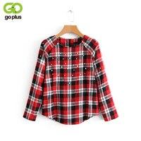 GOPLUS New Fashion Red Black Plaid Shirts Women Pearl Decor Blouses Long Sleeves O Neck Spring