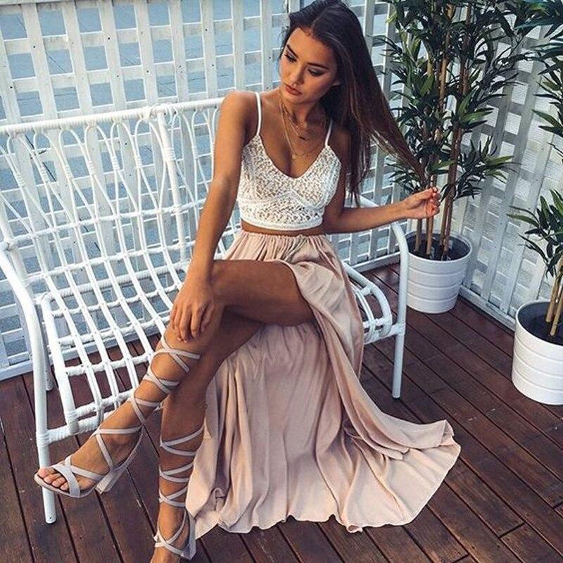 Bohemian Sexy High Split Thin Satin Long Skirts For Women To Beach Zipper Style Female Adult Skirt Pleated Saias Faldas