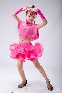 Image 3 - Kids Sequins Tassels Latin Dance Competition Dress Girls Salsa Cha Cha Samba Gymnastics Practice Party Dancing Dresses Costumes