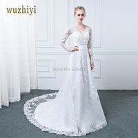 Wuzhiyi Wedding Dress 2017 Mermaid Long Sleeves Bridal Gowns Lace Appliques Wedding Dresses White Vestido De