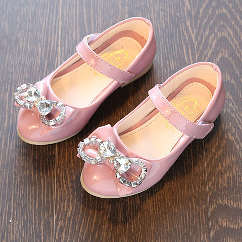 2017 Children Girl Shoes Leather Princess Shoes With Bow Kids Fashion Sneaker Soft Soled Shoes Children Rhinestones Single Shoes