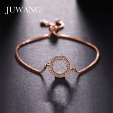 JUWANG New Simple CZ Crystal Sliver Color Hollow Circle Adjustable Chain Bracelets for Women Girl Pulseira Feminina Jewelry Bang
