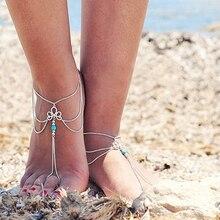 Women Vintage Multilayer Beach Barefoot Sandal Foot Tassel Jewelry Anklet Chain