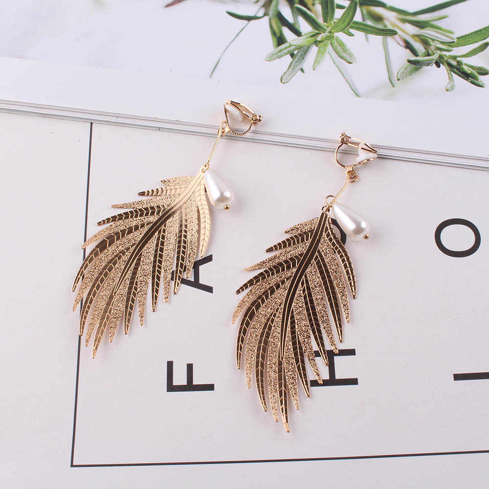JIOFREE High quality luxury gold Silver Vintage Feather Wings Long Clip on Earrings for Women No Pierced wedding Jewelry Brincos