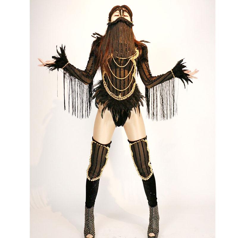 Women Sexy Black Stage Jumpsuit Veil Bodysuit Sets Nightclub Party Celebrate Show Dancer Costumes Female Singer Outfit DJ DS