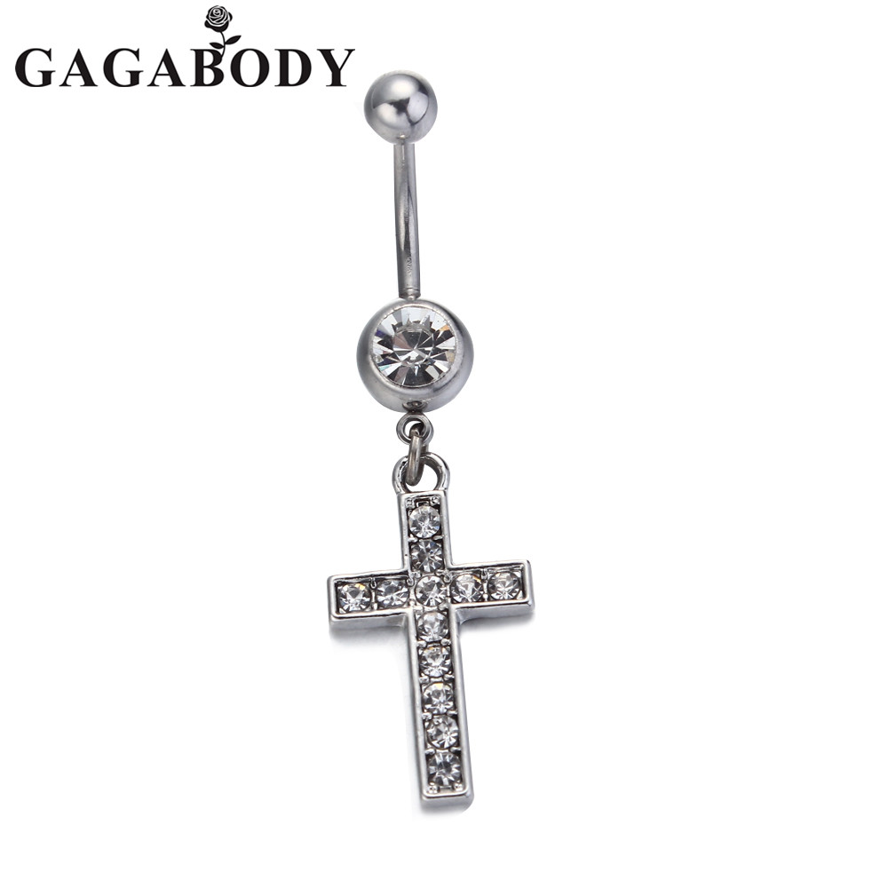 2017 High Quality Cross Medical Steel Crystal Belly Button Ring Dangle Navel Body Jewelry Piercings Tassel Free Shipping