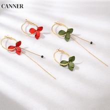 Canner Long Flower Earrings For Women Golden Big Circle Asymmetrical Tassel Statement Dangle Jewelry 2019 W4
