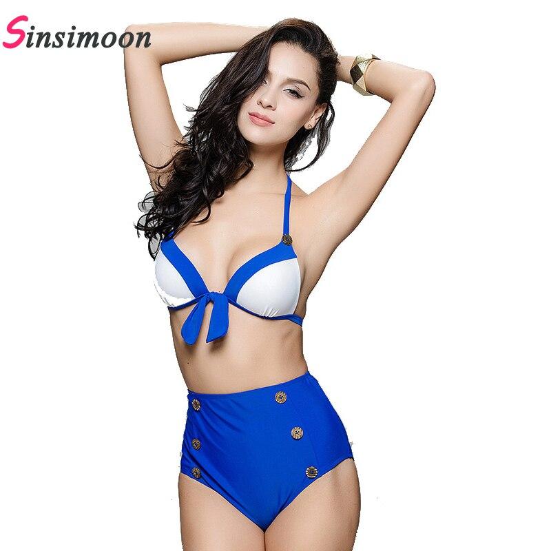New high waist buttom bikini set patchwork swimsuit swimwear monokini swimsuit bathingsuit bow bandage maillot de bain femme