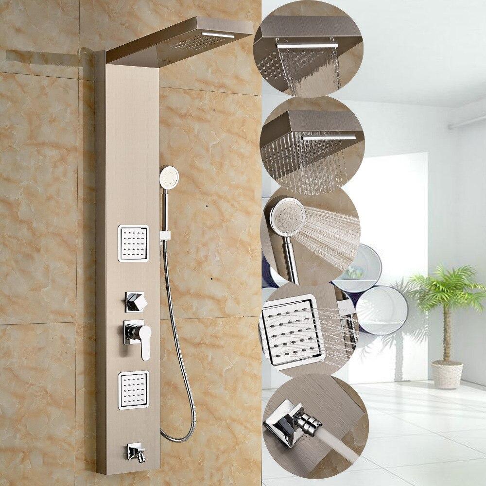 popular modern shower panelsbuy cheap modern shower panels lots  - modern brushed nickle shower column shower panel w hand shower jets tubplate shower faucet