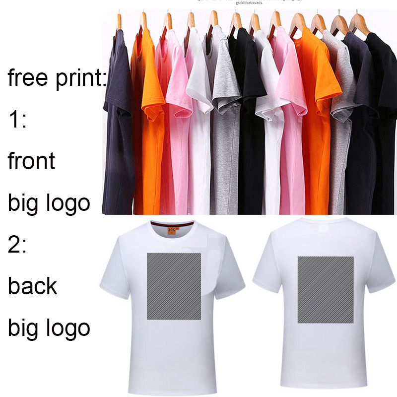 free print Custom Logo Printed Personalized cotton Shirts Customized 2 SIDES FREE PRINT MEN T SHIRT Apparel advertising T-shirt